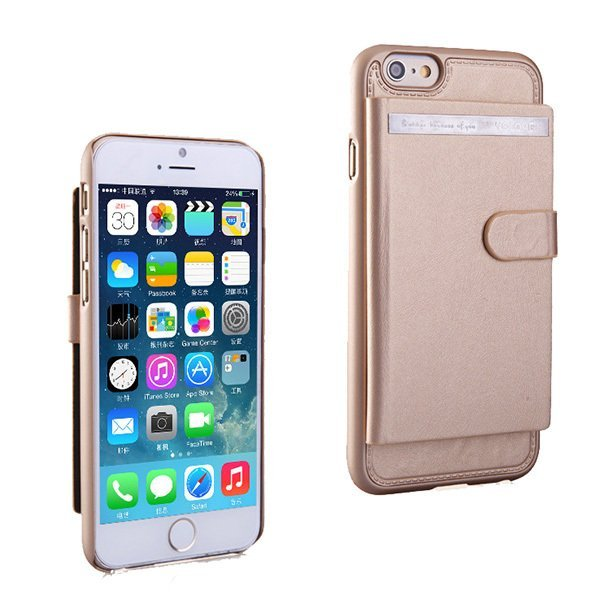 OEM Practical 3 Card Holder Magnetic Case untuk iPhone 6 - Emas