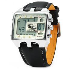 OHSEN AD0930 Men Sports Watches Fashion Military Digital Quartz Leather Band Waterproof Dive Clock Men's Watch Relogio Masculino (White)