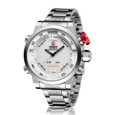 OHSEN AD1608-S Fashion Digital Quartz Stainless Steel Band Men Wristwatches (White)