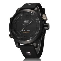 OHSEN AD2820 Fashion Digital Quartz Rubber Band Men Wristwatches (Black)