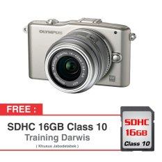 Olympus Kamera Mirrorless E-PM1 - 12 MP - Silver + Gratis SDHC 16 GB + Eksklusif Training Darwis Triadi