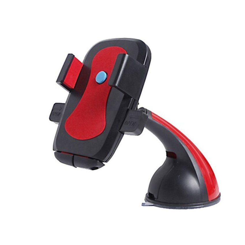 One Touch Universal Windshield Dashboard Car Phone Holder for Smartphones (Red) (Intl)