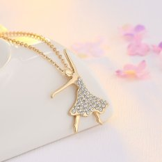 One Zero One Stylish Grace Fashion Gold Plated Crescent Setting Sold Ball Fill Diamond Pendant Necklace Factory Supply For Wedding Event One Zero One (Intl)