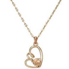 One Zero One Wedding New Fashion Gold Plated Love Heart Filled Blue Diamond Pendant Necklace Gift Factory Supply Simple Design One Zero One (Intl)