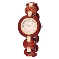 Ooplm BEWELL Brand Luxury Natural Sandal Wooden Wrist Watch Women Diamond Crystal Rhinestone Vintage Antique Watches Fashion Shock (Beige) #