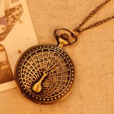 Ooplm Big Peacock Pattern 2015 Retro Vintage Pocket Watch Women Necklace Quartz Alloy Pendant With Long Chain
