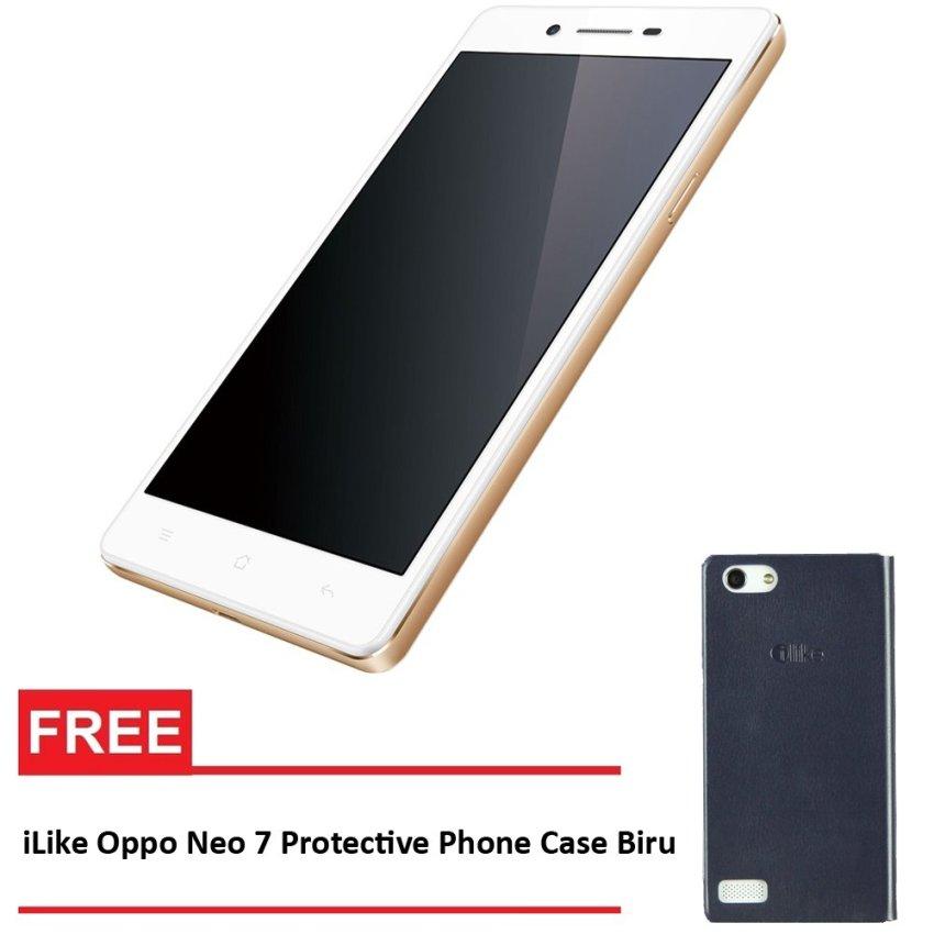 Oppo Neo 7 16 GB Putih - Gratis iLike Oppo Neo 7 Protective Phone Case Biru