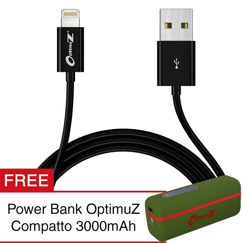 OptimuZ Kabel Lightning 8-pin i5 Apple MFI Certified – 3M - Hitam - GRATIS Powerbank