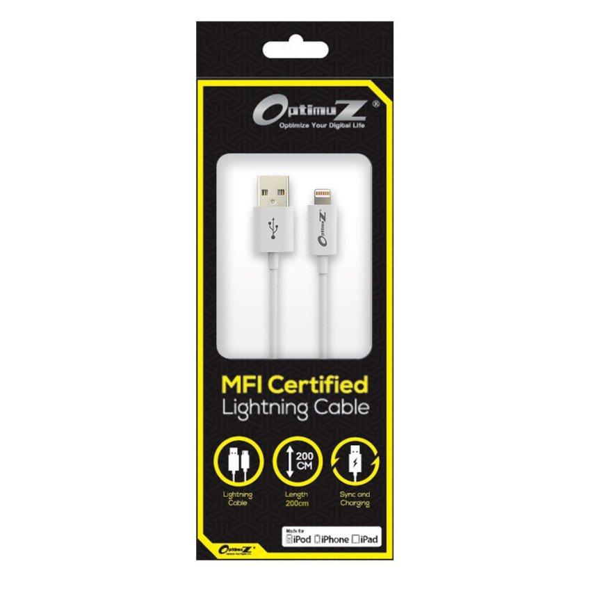 Optimuz Kabel Lightning 8-pin untuk i5 Apple MFI Certified - 2M - Putih