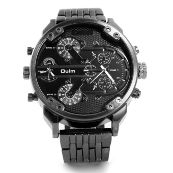 Oulm Luxury Brand DZ Men Alloy Metal Watch 4 Colors Big Size Army Dual Time Male Casual Military Wristwatch Relogio Masculino (Black)