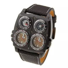 Oulm Men's Dual Time Zones Large Brown Watch W / Compass / Thermometer / Big 5cm Multi-Function Dial