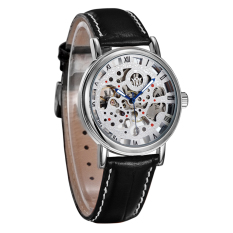 Ouyawei Skeleton Leather Strap Automatic Mechanical Watch - OYW1218 - White / Silver