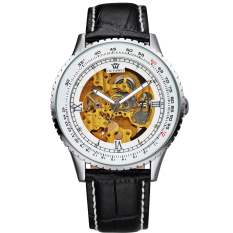Ouyawei Skeleton Leather Strap Automatic Mechanical Watch - OYW1335 - White / Silver