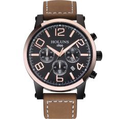 Oxoqo Genuine HOLUNS Male Watch Fashion Multifunctional Luminous Waterproof Men's Casual Quartz Watch Male Table (Brown)