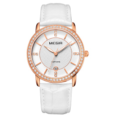 Oxoqo MEGIR Authentic Fashion Belts Female Table Quartz Watch Miss Han Ban Slim Personality (Rosegold)