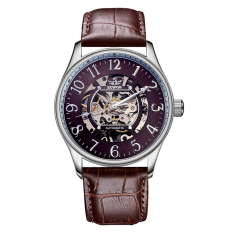 Oxoqo Sewor Brand Business Casual Leather Mechanical Automatic Skeleton Wristwatch Men Watch Business Skeleton SelfWind Watch XR999