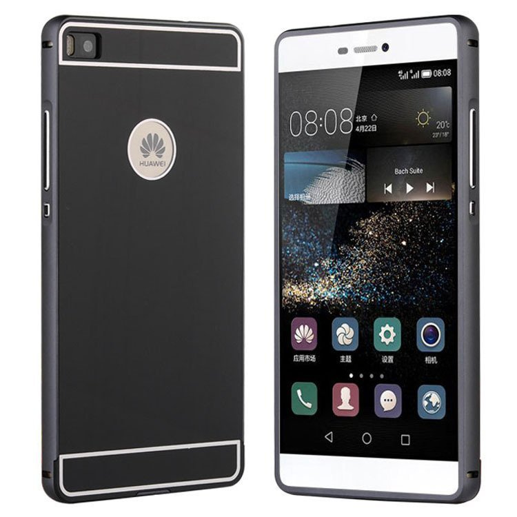 P8 Lite Slim Aluminum Case For Huawei Ascend P8 5.2inch Lite Phone Luxury Metal Frame Acrylic Back Cover For Huawei P8 Lite (Black) (Intl)