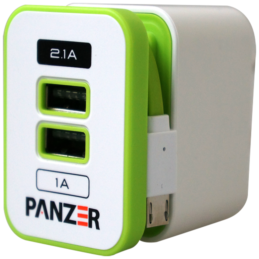 Panzer Travel Charger 3in1 Port Putih