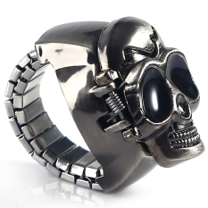 Pary Jewelry Skull Punk Gothic Finger Ring Watch Quartz Watch Finger Decoration (Intl)