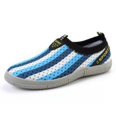 PATHFINDER Men's Summer Breathable Shoes EVA Slip Ons AD4 (Dark Blue)