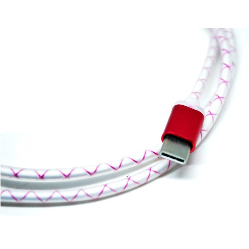 Pattern Aluminum USB Type C to USB 2.0 Male 1 Meter - Red