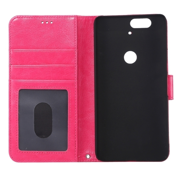 PC PU Flip Leather Horizontal Cover with Card Slots Wallet Holder for Google Nexus 6P (Magenta) (Intl)