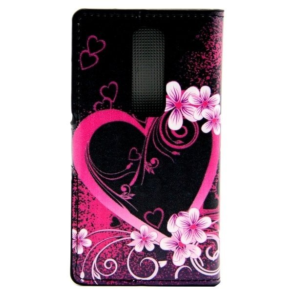 Peach Blossom Heart Patterns Leather Flip Cover for LG Class/LG Zero (Purple) (Intl)
