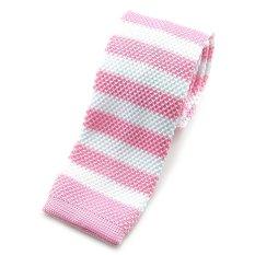 """PenSee Casual Mens Pink & White Stripe Slim 2.16"""" Skinny Knit Tie (Intl)"""