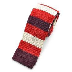 """PenSee Casual Mens Red & Burgundy & Beige Slim 2.16"""" Skinny Knit Tie (Intl)"""