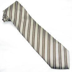 Pensee Mens 100% Polyester Silk Tie Classic Gold And Brown Stripe Necktie (Intl)