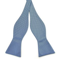 PenSee Mens Self Bow Tie Classic Houndstooth Series Woven Silk Bow Ties (Blue & Black) (Intl)
