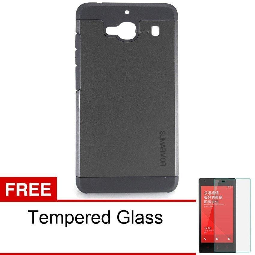 Peonia Xiaomi Redmi 2 SGP Hardcase Slim Armor - Hitam + Bonus Tempered Glass