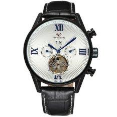 Perfect Forsining Top Brand Man Watches Automatic Men's Day / Week Tourbillion Mechanical PU Leather Wristwatch Gift Box Free Ship - Intl