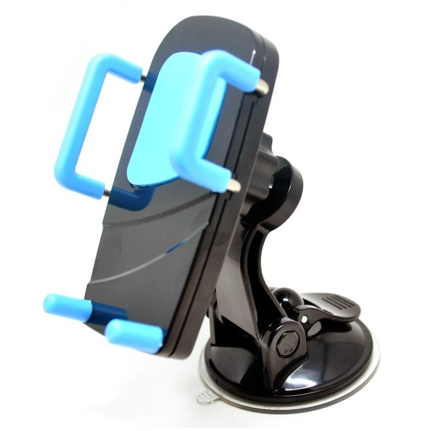 Phone Holder 2 in 1 Car Universal Holder with Windshield and Air Vent Mount - Hitam-Biru