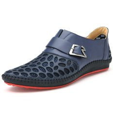 PINSV Men's Breathable Leather Loafers (Blue) (Intl)