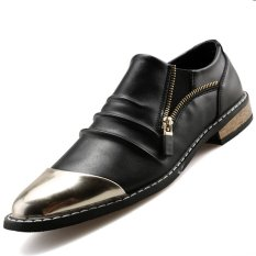 PINSV Synthethic Leather Men's Casual Leather Shoes Formal Shoes (Black)