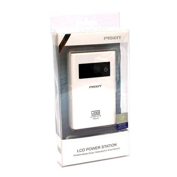 Pisen LCD Display Power Bank 7500mAh Power Station - Putih