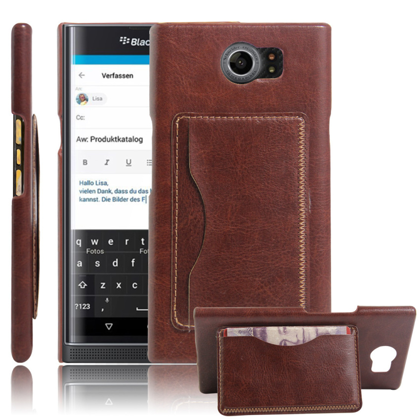 PopSky PU Leather Bracket Shell Case for BlackBerry Priv (Brown)
