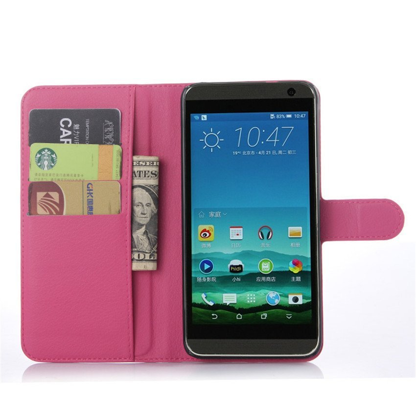 PopSky Wallet Case for HTC One E9 Plus (Rose Red)