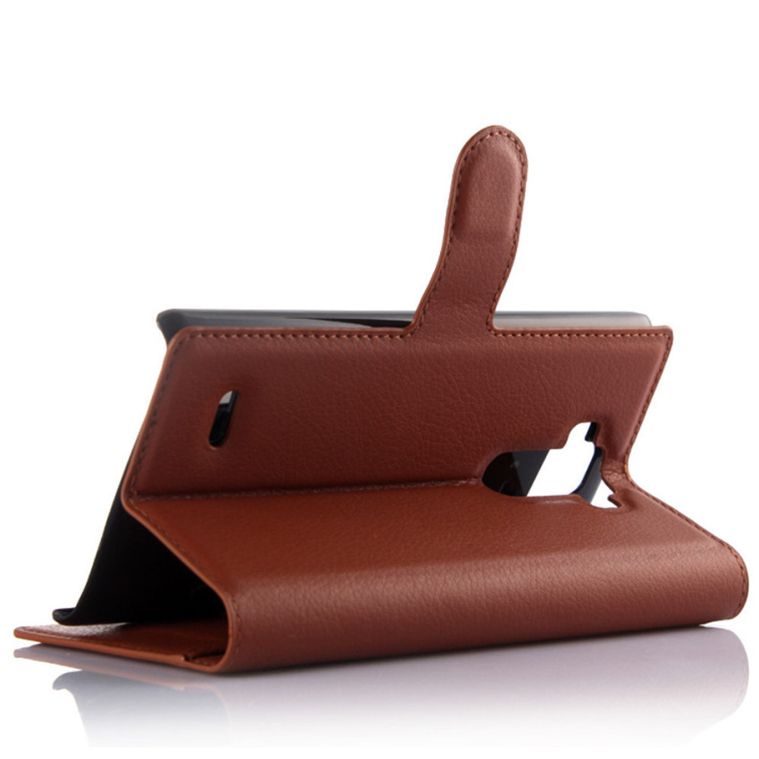 PopSky Wallet Case for LG G4 Stylus (Brown)