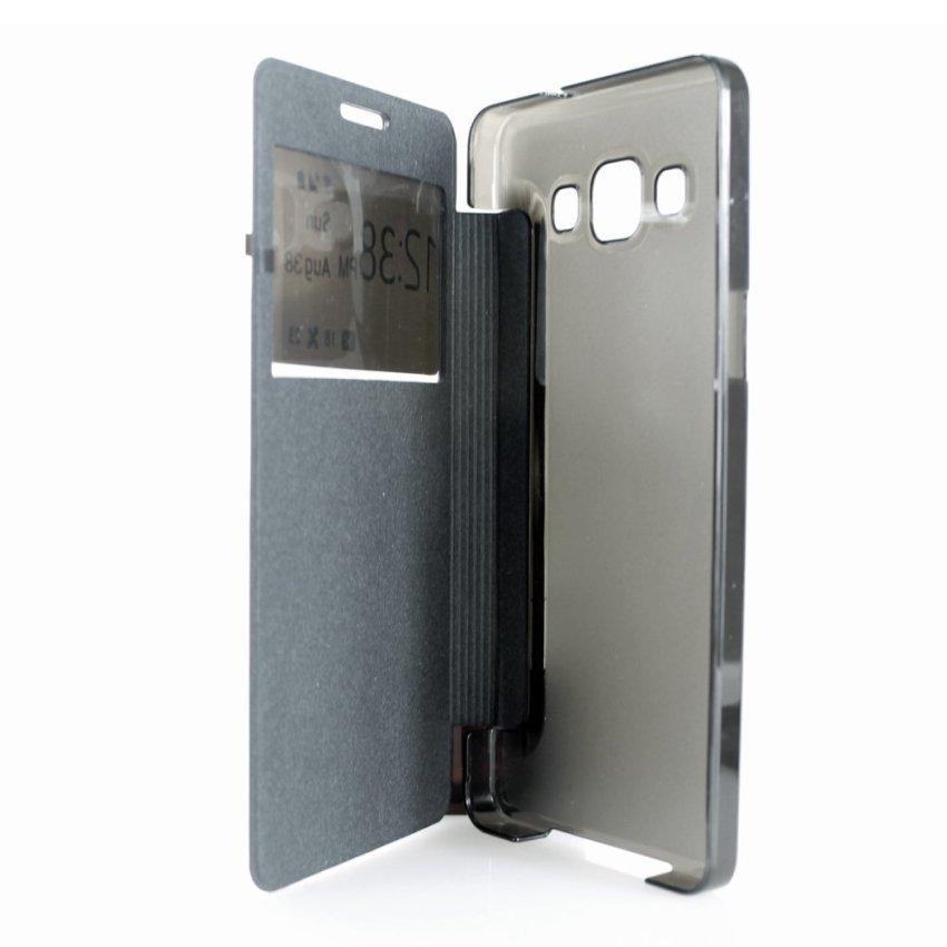 PU Flip Open Window Cover for Samsung Galaxy A5 (Black) (Intl)