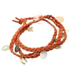 PU Leather Alloy Braided Bracelet Bangle Wrap Pendant Orange Bohemian - Intl