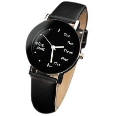 PU Leather Band Quartz Watches Man and Women Students Wristwatches Student Fashion Round Dial Watches Black&Black (Intl)