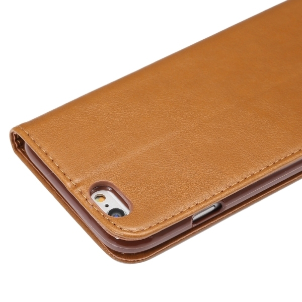 PU Leather Plastic Cover with Card Slots Holder Wallet for iPhone 6/6S (Brown) (Intl)
