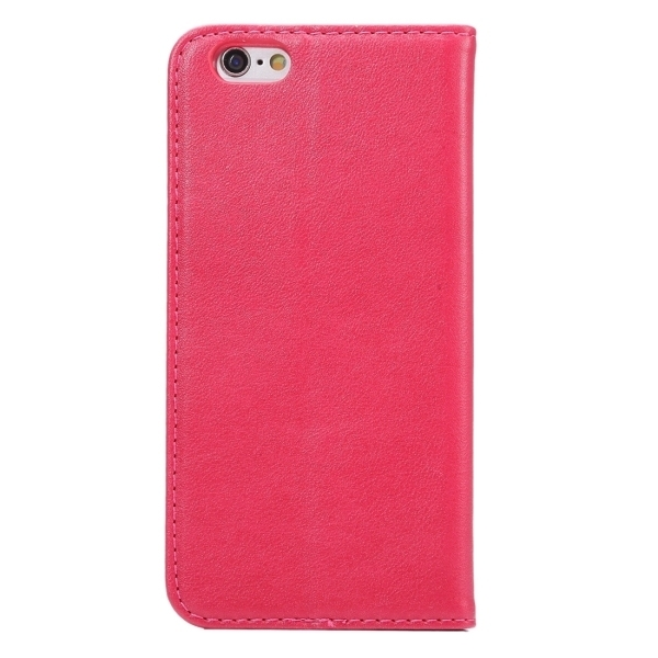 PU Leather Plastic Cover with Card Slots Holder Wallet for iPhone 6 Plus/6S Plus (Magenta) (Intl)