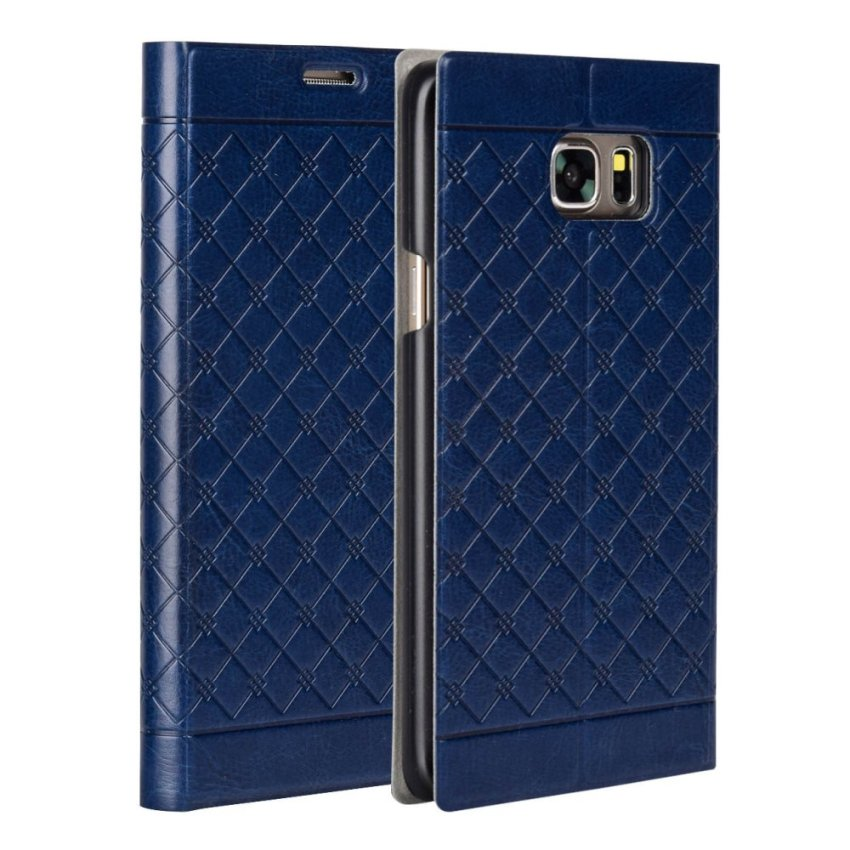 PU Leather Wallet Flip Stand Cover case for Galaxy Note 5 (Royal Blue)