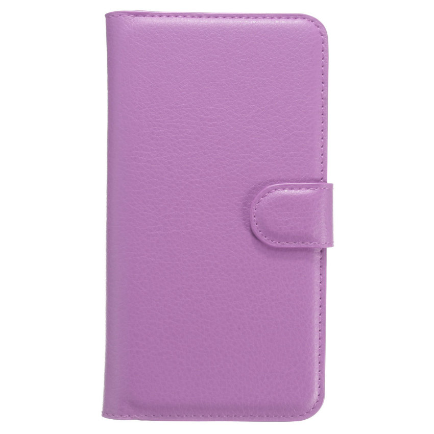 PU Rabat Flip Wallet Credit Card Shell Case Cover for Wiko Rainbow 4G (Purple) (Intl)