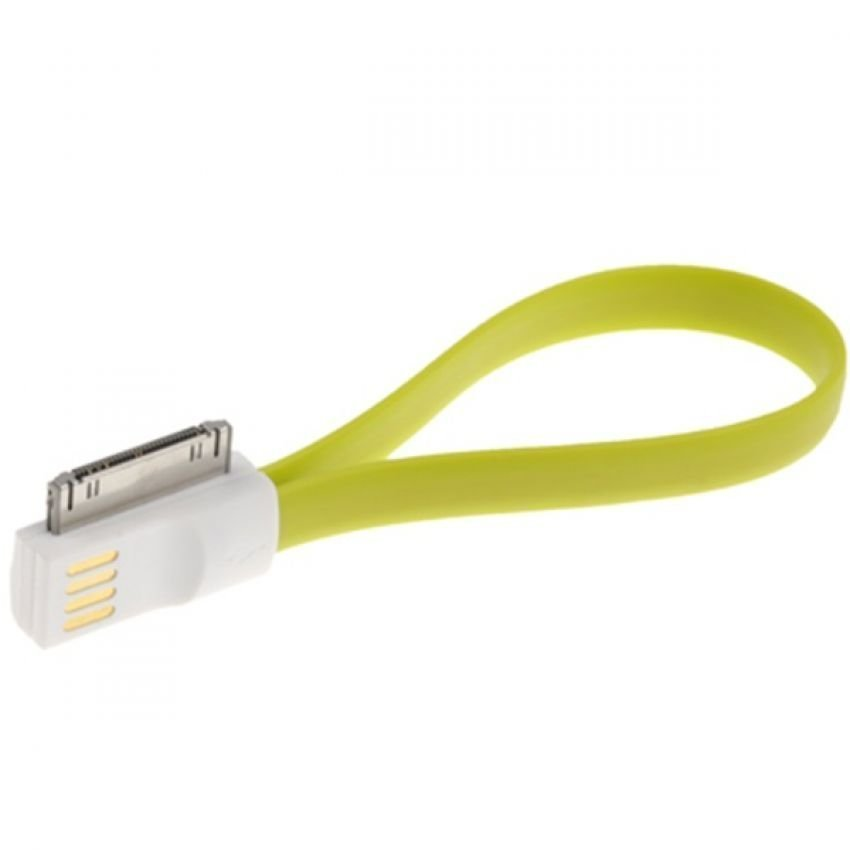 Pure Color Noodle Bracelet Style Magnet USB to Dock Cable for iPhone 4 & 4S - Hijau Muda