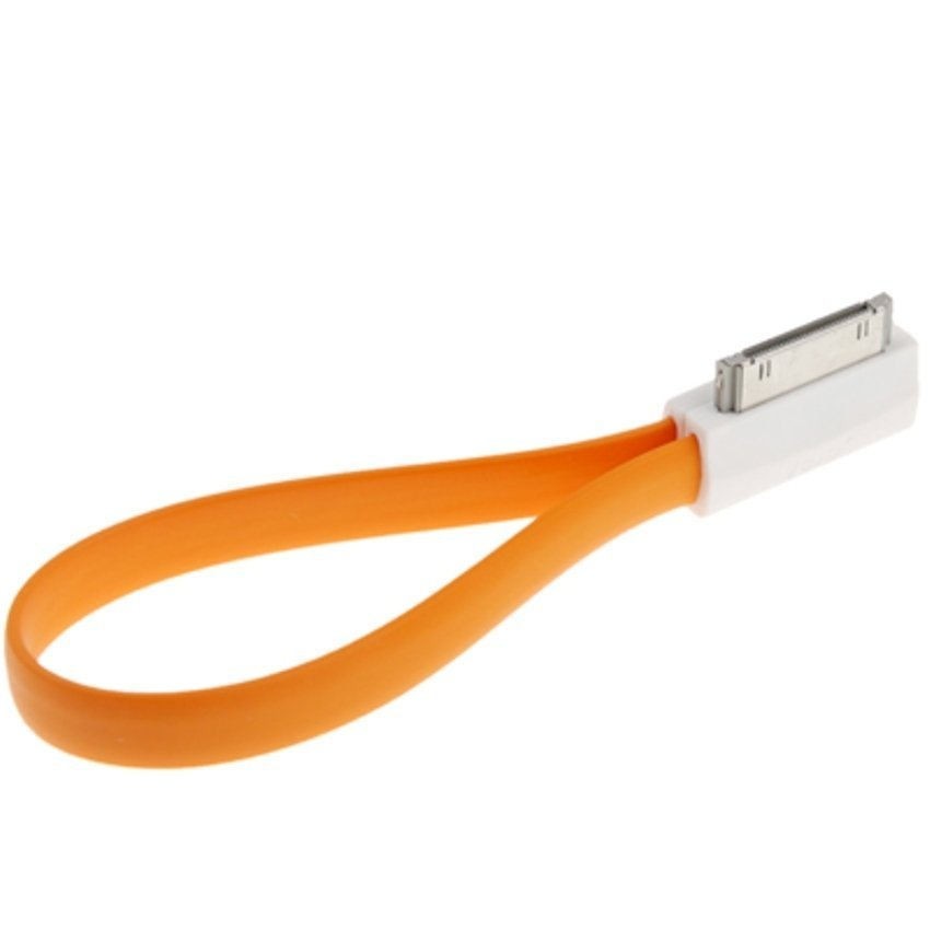 Pure Color Noodle Bracelet Style Magnet USB to Dock Cable for iPhone 4 & 4S - Orange