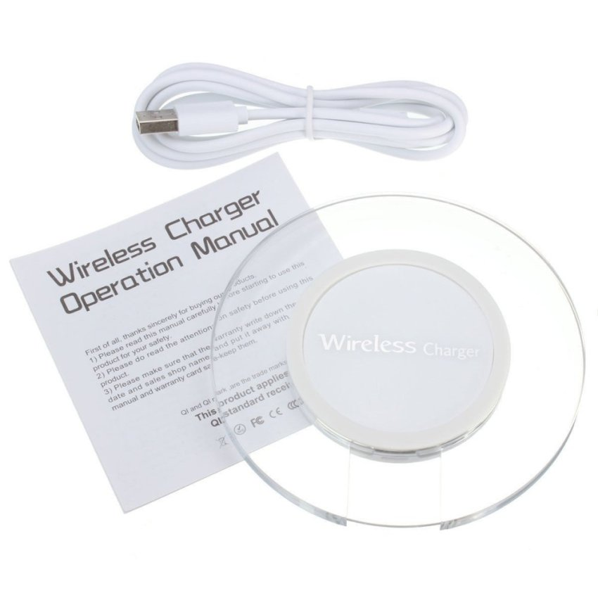 QI Acrylic Wireless Charger Set Iphone 6/6s - Putih